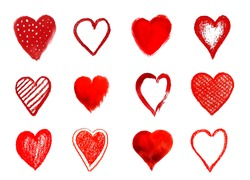 Hand Painted Vector Heart Shape Set.  Red Hearts Isolated on White Background.