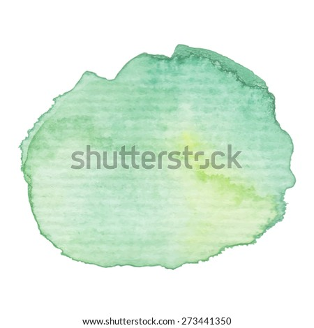 Hand painted watercolor blob. High resolution high quality. Green background on textured paper. Round graphic design element isolated on white. Vector illustration.