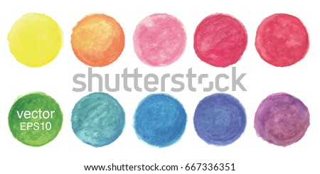 Hand painted watercolor circles,vector