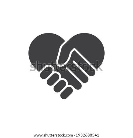 hand palm care love icon, handshake Heart symbol. Vector illustration