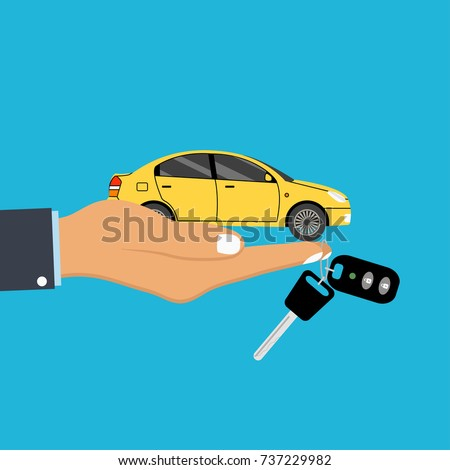 hand palm holds car and key