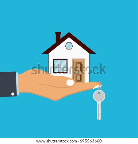 Hand palm holds house and key on finger. Concept for home agent, sale and rent of a house. Vector illustration.