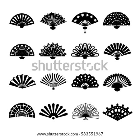 hand paper fan vector icons