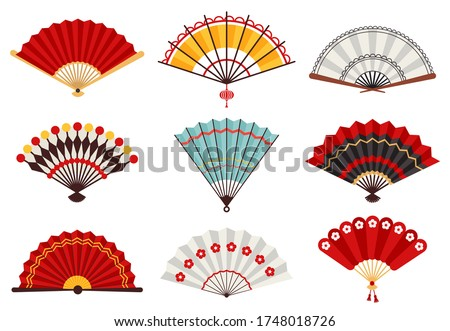 Hand paper fans. Asian traditional folding hand fan, japanese souvenir, wooden chinese hand traditional fans vector illustration icons set. Fan chinese decoration, asian culture souvenir