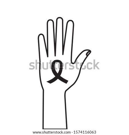 hand person human with ribbon line style icon vector illustration design