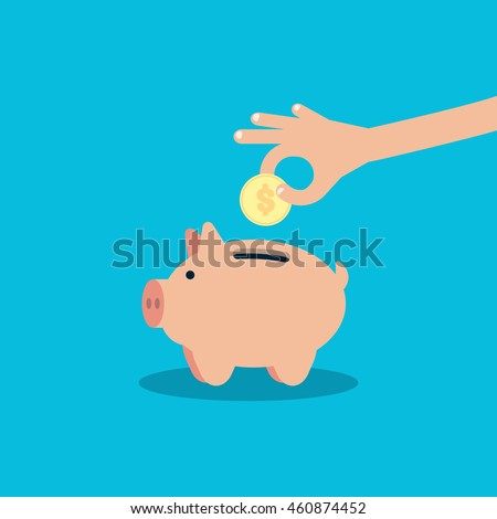hand pick down coin into pig