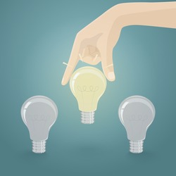Hand picking light bulb idea from group.Vector illustration of human resource concept for choose the best candidate.