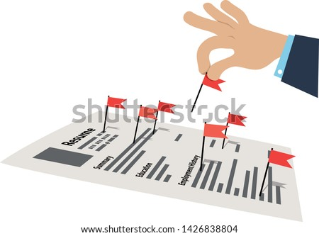 Hand picking up red flags from a resume of a job applicant, EPS 8 vector illustration