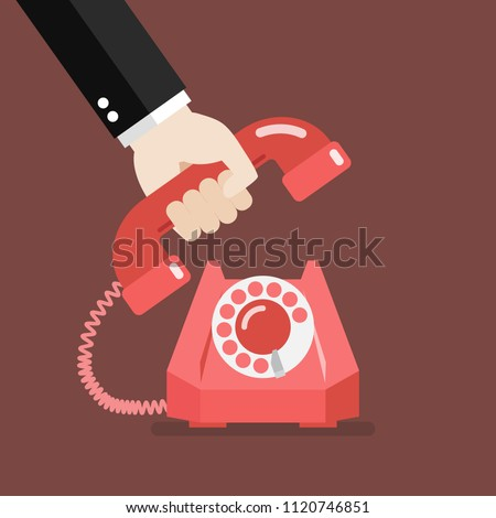 Hand picking up the phone. Vector illustration Сток-фото ©
