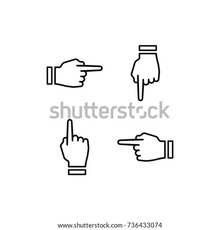hand point left and right symbols, vector icon, arrows and direction icons, vector