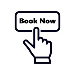 hand pointer or cursor mouse clicking on book now button linear icon. concept of easy booking with your smartphone or mobile phone and pre-booking hotel. symbol in form of pressing hand