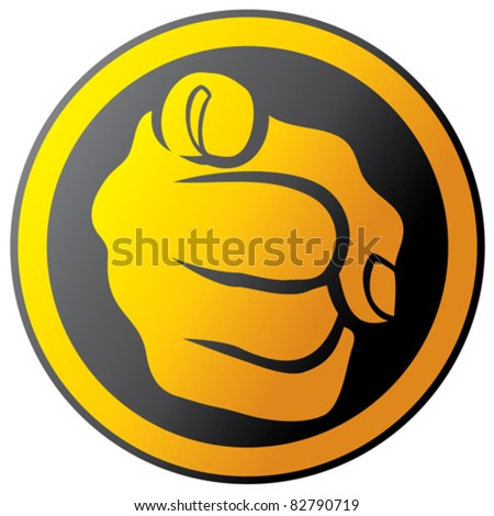 Hand pointing button (icon)