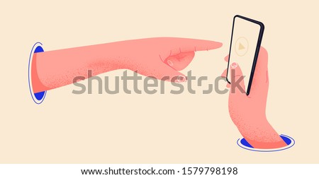 Hand pointing to a smartphone through a blue hole. Finger pointing to touch screen and press the play button. Editable phone template vector illustration. Holding phone in hand flat design drawing