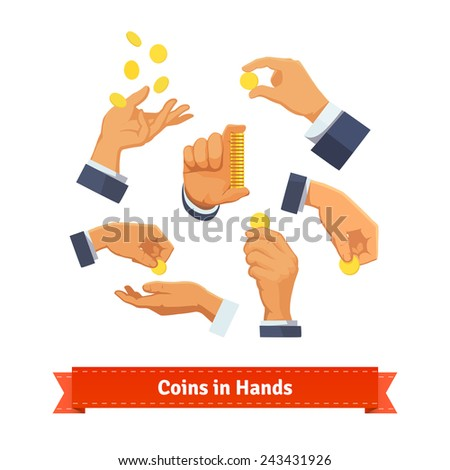 Hand poses counting, giving, taking, putting, throwing, and showing coins and stack. Flat style illustration.