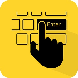 Hand press keyboard Enter button. Human finger computer input confirm click. Flat 3D shadow design. yellow background black vector. product brand service label banner board display. App icon.