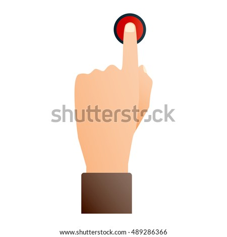 Hand press red button finger press icon on white background #489286366