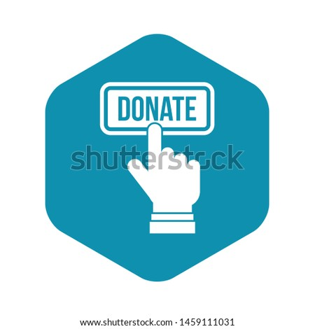 Hand presses button to donate icon. Simple illustration of hand presses button to donate vector icon for web design