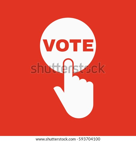 Hand pressing a button with the text VOTE icon. Voting, polling, ballot symbol. Flat design. Stock - Vector illustration
