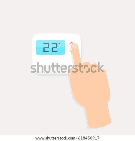hand pressing button on digital thermostat. Temperature control clipart isolated on white background