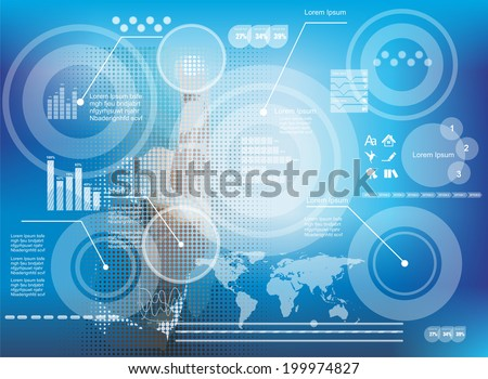 Hand pressing high tech type of modern buttons and business diagram on a virtual background