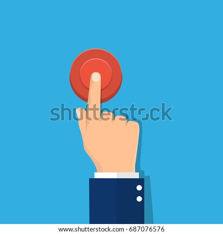 Hand pressing red button. Vector illustration in flat style #687076576