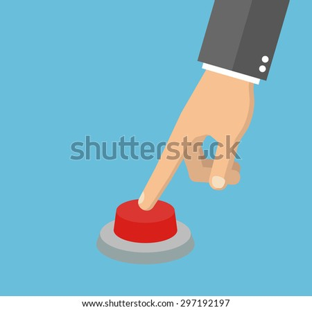 Hand pressing the red button. Flat style #297192197