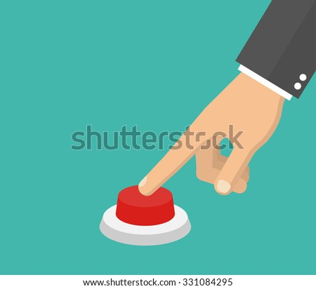 Hand pressing the red button. Flat style . Side view