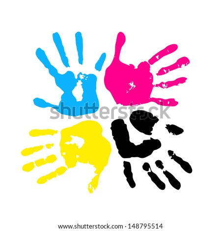 Hand print. Four color ink for printing