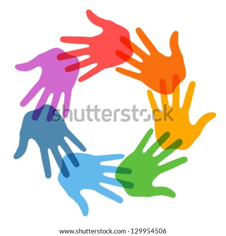 Hand Print icon 7 colors, vector illustration