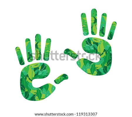 hand print in leaves vector illustration