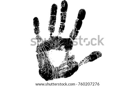Hand Print Of Left Hand Made From Paint