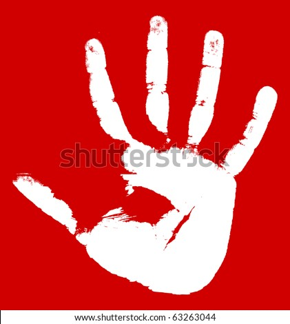 Hand print on a red background. Vector illustration
