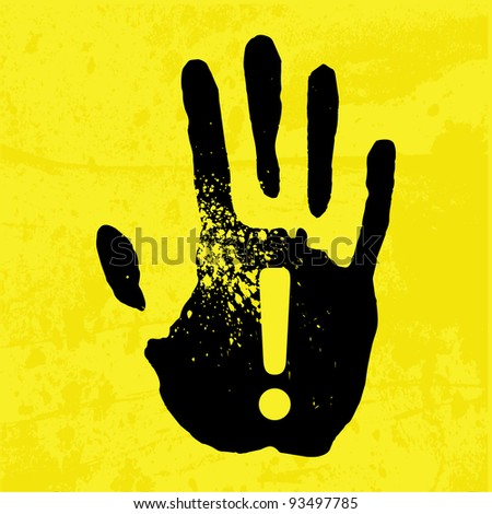 Hand print on a yellow background