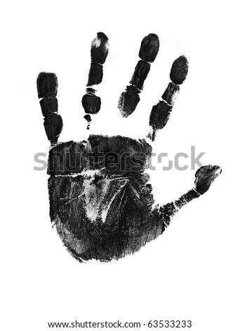 Hand print on white background, vector illustration - stock vector
