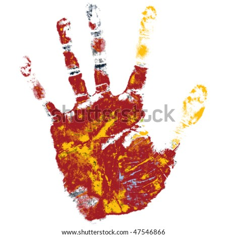 Hand print over white background, element for design