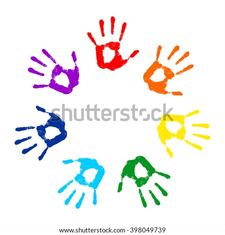 Hand Print Round Frame On A White Background Vector Illustration