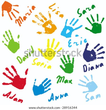 Hand prints and names