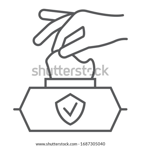 Hand pulling wet tissue thin line icon, wash and hygiene, hand tissues sign, vector graphics, a linear pattern on a white background, eps 10