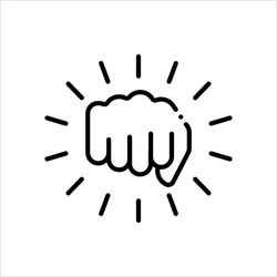 Hand Punch Icon, Fighting Punch, Striking Blow With The Fist Vector Art Illustration