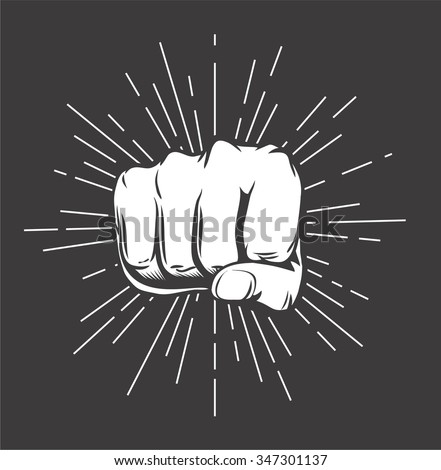 Hand Punch with sunbursts in vintage style. Vector illustration