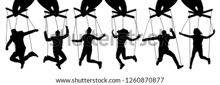 Hand puppeteer. Manipulation of people, puppets. The owner controls the subordinates. Isolated set of vector illustration
