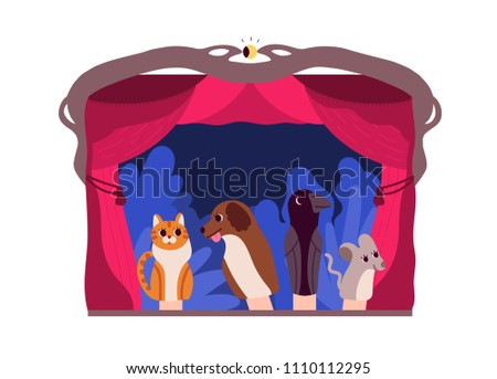 Children playing with hand puppets - Download Free Vector Art, Stock