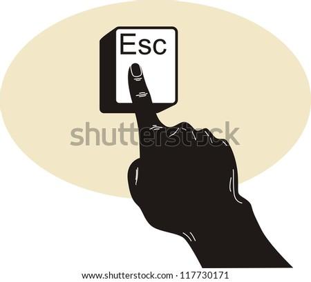 hand push Esc button
