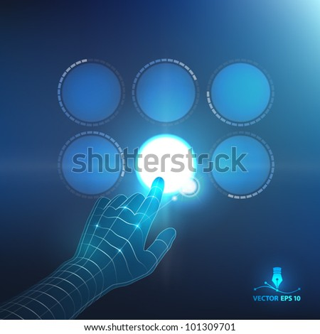 Hand pushing a button