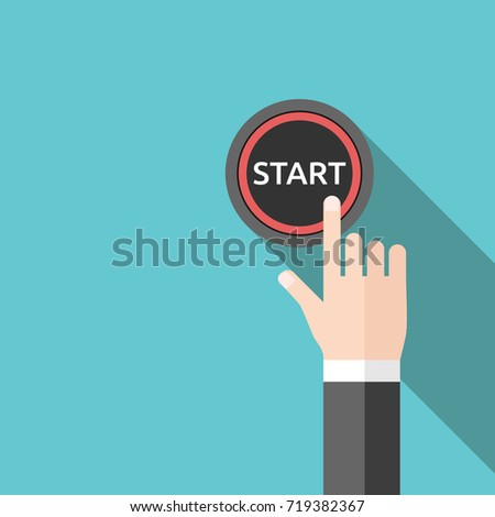 Hand pushing red start button with long shadow on turquoise blue. Beginning, resolution and decision concept. Flat design. EPS 8 compatible vector illustration, no transparency, no gradients