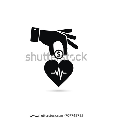 Hand put coin in heart illustration. Invest you health illustration.