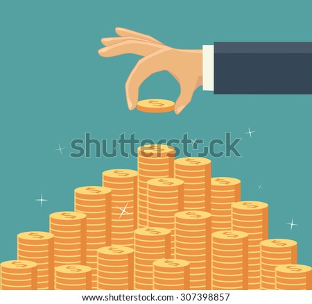 Hand put coin to money staircase. Profit. Making money. For business and finance concept.