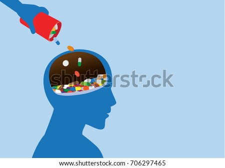 Hand put medicine into human head. Illustration about drug addiction and brain.