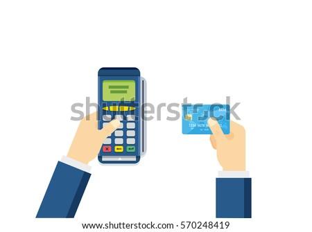 hand puts debit credit card