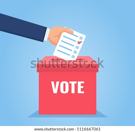 Hand puts vote bulletin into vote box. Election concept. Flat design vector illustration